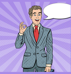 pop art successful businessman gesturing ok vector image