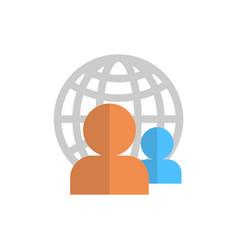 Profile icon over world globe group user member vector