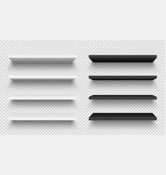 Realistic black and white wall shelf collection on vector