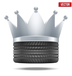 Realistic rubber tire with a silver crown vector image