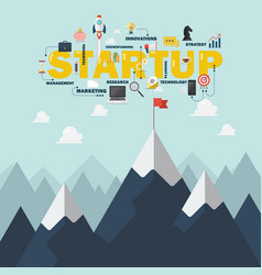 red flag on a mountain peak startup success vector image