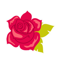 red rose with green leaf blossom in cartoon style vector image