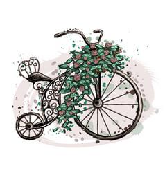 retro bike with flowers vector image