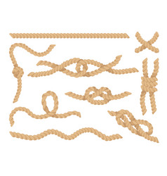 Rope knots set jute or hemp twisted cords vector