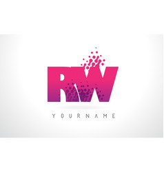 rw r w letter logo with pink purple color and vector image