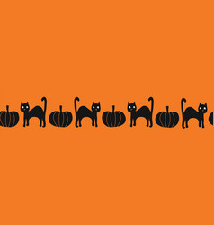 seamless border halloween black cats vector image