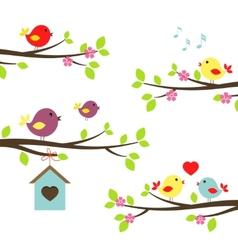 Set birds on flowering branches vector