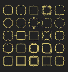 Set of golden different styles emblems and frames vector