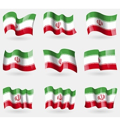Set of Iran flags in the air vector