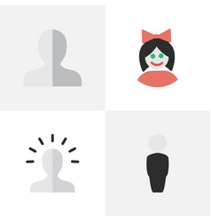 Set of simple profile icons vector