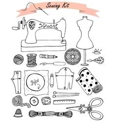 Sewing hand drawn kit vector image