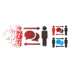 shredded pixel halftone persons exchange messages vector image
