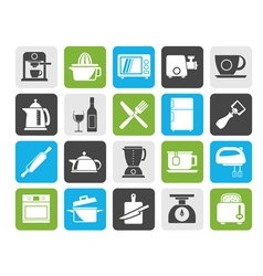 Silhouette Kitchenware objects and equipment icons vector