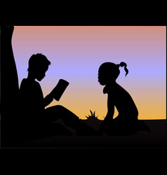 silhouette of boy and girl reading books under the vector image