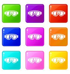 Skiing mask icons 9 set vector