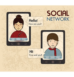 Social network design over pink background vector