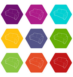 sofa icons set 9 vector image