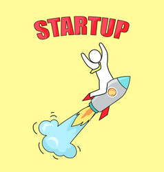 startup man on launched rocket vector image