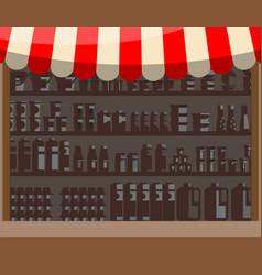 Supermarket wooden showcase vector