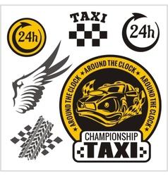 Taxi symbols and elements for taxi emblem - set vector image