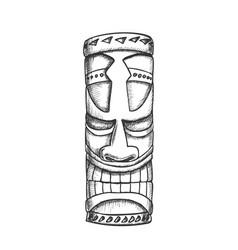 Tiki idol hawaiian wooden statue monochrome vector