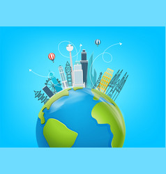 travel destination concept with famous world vector image