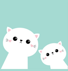 Two cat kitten set cute kawaii kitty animal vector
