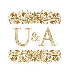 U and a vintage initials logo symbol letters vector