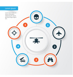 Warfare icons set collection of glass aircraft vector