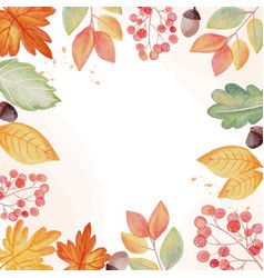 watercolor autumn fall leaves wreath frame square vector image
