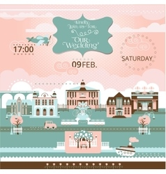 Wedding in the city festive romantic cityscape vector