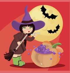 wizard girl mystic halloween cartoon vector image