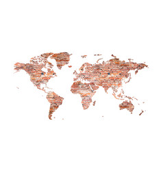 world map from old bricks in loft style vector image