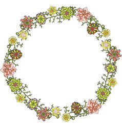wreath with green pink and yellow flowers vector image