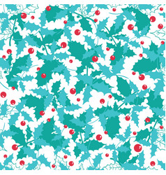 blue red holly berry holiday seamless vector image vector image