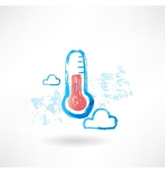 Cloud thermometer grunge icon vector image