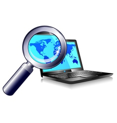 Internet Ball and Laptop world magnifying glass vector image