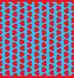 red hearts on blue background seamless pattern vector image vector image