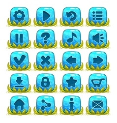 Set of blue buttons with web icons vector image vector image