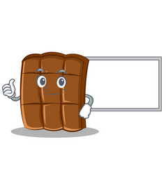 thumbs up with board chocolate character cartoon vector image