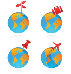 travel world icons vector image