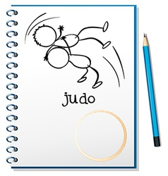 A notebook with a sketch of two people doing judo vector image vector image