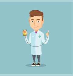 doctor showing app for measuring heart pulse vector image vector image