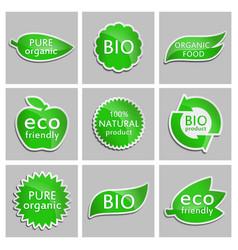 green sticker eco friendly bio pure organic vector image