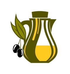 Jar of fresh golden olive oil vector