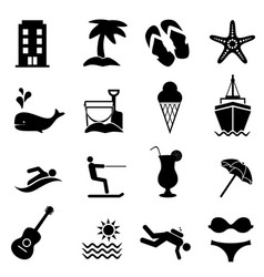 beach and summer resort icons vector image vector image