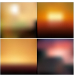 blurred backgrounds set with sea landscape vector image