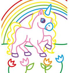 coloring book of unicorn near rainbow vector image vector image
