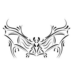 Decorative bat element tattoo vector image