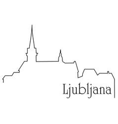 ljubljana city one line drawing background vector image vector image